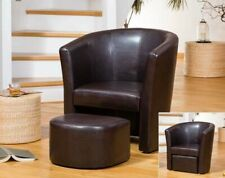 Brown Tub Chair With Footstool