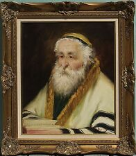 Judaica Oil Painting on Canvas Portrait of Rabbi Signed