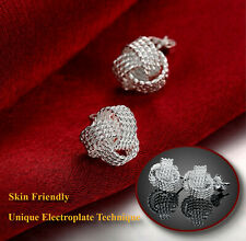 Electroplated 925 Sterling Silver Twisted Net Knotted Woven Ball Stud Earrings