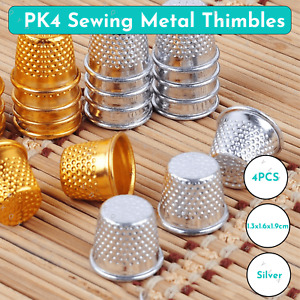 4 x Silver Thimble Needles Sewing Quilting Metal Ring Leather Protector Craft