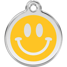 Smiley Face Enamel/Solid Stainless Steel Engraved ID Dog/Cat Tag