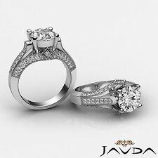 Diamante Redondo Filgree Compromiso GIA F VS2 puesto Pavé Anillo 14k Oro Blanco