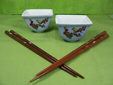 Set of 2 Oriental SIDE DISHES with CHOPSTICKS Japonica Quince w/ Yellow Birds