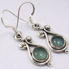 925 Sterling Silver Natural GREEN APATITE LOVELY MADE IN INDIA Earrings 3.5 CM