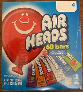 NEW AIRHEADS CANDY 33 OZ BOX 60 ASSORTED FLAVORS BARS FREE WORLD WIDE SHIPPING