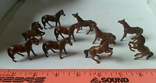 1/64 ERTL FARM TOY QTY OF 10 ASSORTED BROWN HORSES SADDLE RIDING JUMPIN  DISPLAY