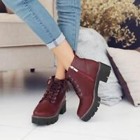 Chic Womens Round toe Lace Up Platform Chunky Heel Ankle Boots High Top Zip Shoe