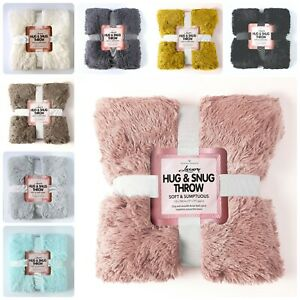 Luxury Hug & Snug Fluffy Fur Throw Blanket Sofa Bed Warm Matching Cushion Cover