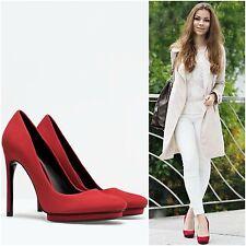 Zara Woman BNWT Red Leather Stiletto Platform Shoes High Court UK5 EU38 5208/301
