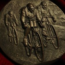 Antique 1941 Olympic Sport Bicycle Bike Race Bronze Statue Medal Plaque Award