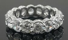 925 sterling silver Cz Round eternity wedding band side stone Stunning Best Gift