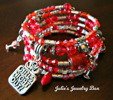 """Faceted Red Beads & Charms Bracelet Handmade """"Girls Night Out"""" Memory Wire"""
