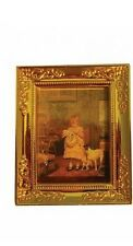 Golden Framed Picture Of A Child & Her Dog, Doll House Miniature 1.12th Scale