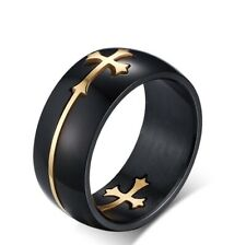Men Black Smooth with Gold Moveable double Cross Christian Titanium Steel Ring