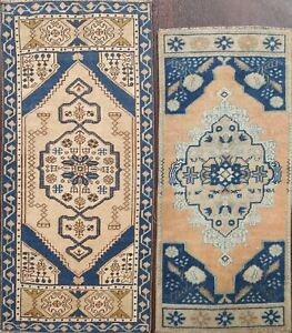 Set of 2 Vintage Muted Anatolian Turkish Oriental Area Rug Tribal Handmade 2'x3'