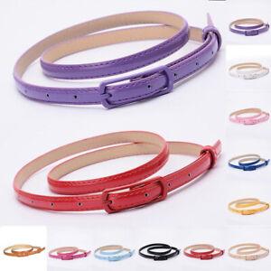 Women Girl Candy Color Thin Slim Belt Skinny PU Leather Waist Belt Waistband