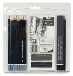 21Pcs Graphite Pencil Sketching & Charcoal Drawing Sticks Artist Set RART200