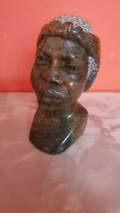 African Soap stone Head Carving Sculpture