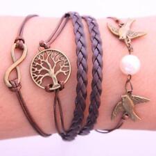 Pretty creative bracelet bird imitation pearl tree multilayer hand woven leather