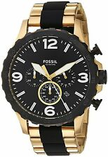 NWT Fossil Men's JR1526 'Nate' Chronograph Gold Two-Tone Stainless Steel Watch