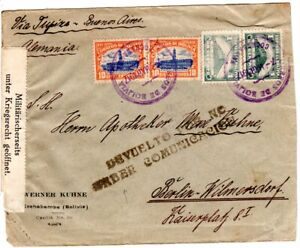 Bolivia 1917, 4 stamps on censorship cover from Cochambamba to Germany. #u35