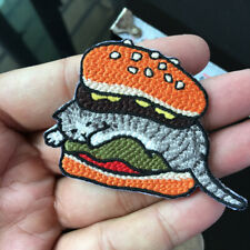Funny Hamburger Cat Patch Cute Bread Cat  Embroidered Iron On Patch Applique DIY