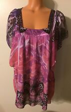• Women's Size Large One World Live Flowing Blouse Sheer Longer Length Tunic