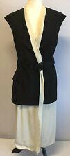 Lanvin Ete 2014 Black Ivory Cocktail Midi Dress Cap Sleeve Women's Sz 40/8