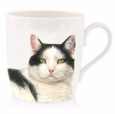 Black And White Cat with Green Eyes China Mug