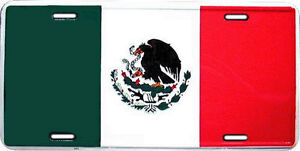 MEXICAN Flag metal license plate  - Made in the USA - brand new - unopened