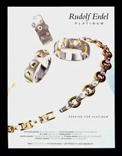 PRINT AD 1998 DOUBLE SIDED SUNA PARQUET & RUDOLF ERDEL PLATINUM JEWELRY