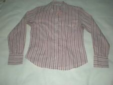 Ladies cotton pink with purple stripes long sleeved shirt