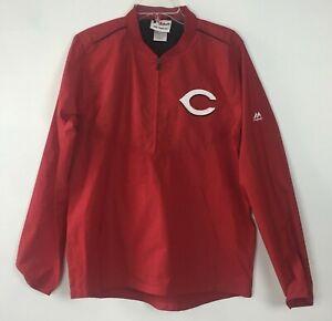 Majestic Cincinnati Reds Sz 18 Boys Pullover Quarter Zip Warmup Jacket