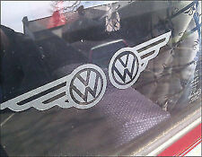 2 x VW ETCHED GLASS VW WINGS VOLKSWAGEN CAMPER BUS STICKER DECAL GRAPHIC CAR MOD