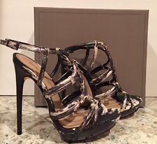 BCBG Max Azria Farrow Sandals Heel Leather Lizard Black White Metallic 39/9 $275
