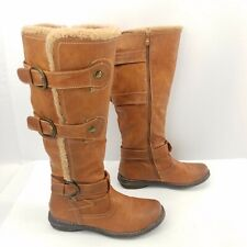 Eddie Marc Extreme Knee High Boots Side Zip Buckles Brown Faux Fur Lined Sz 10