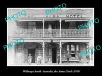 OLD LARGE HISTORIC PHOTO OF WILLUNGA SA, VIEW OF THE ALMA HOTEL c1910