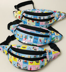 LOTERIA Fanny Pack Pool Party Travel Bag Waist Pouch Wallet Mexican Bingo Beach
