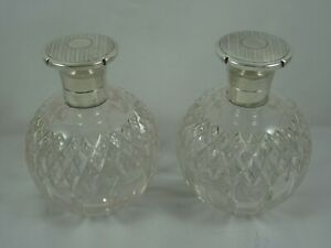 STYLISH pair, ART DECO  silver topped SCENT BOTTLES, 1929