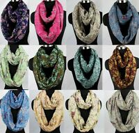 Fashion Womens Bird Flower Print Viscose Ladies Infinity Circle Loop Scarf Snood