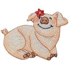 Pig Applique Patch - Flower, Domestic Pet Piggy, Piglet Badge 2-3/8