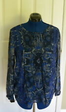 Lucky Brand Sheer Printed Top L Paisley Blue Blouse NWT