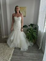 NEW $1600 Blush by Hayley Paige River Ivory/Oyster Size 12 w/ Bustle New/Altered