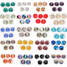 10Pcs 14mm Faceted Glass Crystal Round Flat Beads Spacer DIY Jewelry Finding#