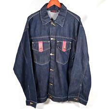 Evisu Mens Denim Jacket Mens XL Dark Wash Jean Jean Streetwear Japanese Japan