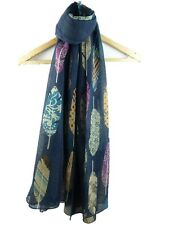 Ladies Striking Feather Print Pashmina Scarf Wrap Shawl Navy Mixed Colours New