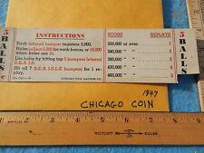 1947 Chicago Coin SEA ISLE Instruction & Award Card