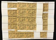 1407   South Carolina Founding    25 MNH 6 cent plate blocks.  Issued in 1970