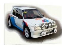 Peugeot 205 1.9 Gti - 30x20 Inch Canvas - Framed Picture Print Rally