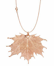 in Rose Gold Genuine Leaf Necklace New Real Leaf Pendant with Chain Sugar Maple